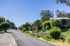 Street on the steep hills of Sausalito, north San Francisco bay, California. Street on the steep hills of Sausalito on a sunny day Royalty Free Stock Images