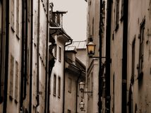 Street of Stockholm. Whith streetlights royalty free stock photo