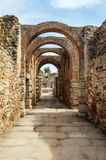 Street with stone arches Stock Photo