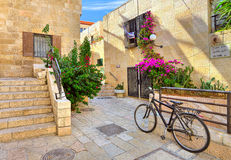 Street and stonrd houses at jewish quarter in Jerusalem. stock photography