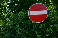 Street stop sign in London. Red and white color. Sign stands near green trees Stock Photography