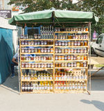 Street store food and drinks from plums in the town of Leskovac in Serbia Stock Photo