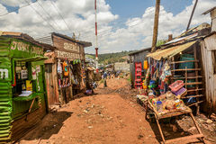 Street stores of Kibera Slum in Nairobi,Kenya Stock Photos