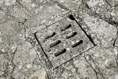 Street storm drain cover Royalty Free Stock Photography
