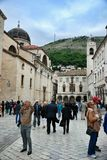Street Stradun and Franciscan Monastery in Dubrovnik Stock Photo