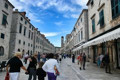 Street Stradun and Franciscan Monastery in Dubrovnik Royalty Free Stock Photos