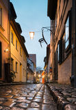 Street in Stralsund after heavy rain Royalty Free Stock Photography