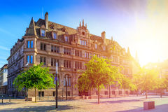 Street in Strasbourg with flower decoration. Stock Image
