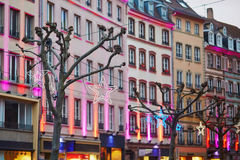 Street of Strasbourg beautifully decorated for Christmas Stock Photos