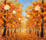 Street strewn with yellow leaves. Trees in autumn with streetlights. Original oil painting street strewn with yellow leaves. Trees in autumn with streetlight on Stock Photography