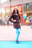 Street style city fashion model stock images