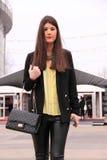 Street Style Fashion Leather Pants Royalty Free Stock Image