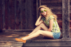 Street Style Fashion Woman Outdoors Royalty Free Stock Photography