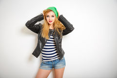 Street Style Hipster Girl in Spring Clothes Royalty Free Stock Photography