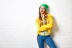 Street Style Hipster Girl at White Brick Wall Background Stock Image