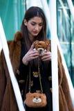 Street Style: Milan Fashion Week Autumn/Winter 2015-16 Royalty Free Stock Photography