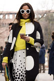Street Style: Milan Fashion Week Autumn/Winter 2015-16 Stock Photo