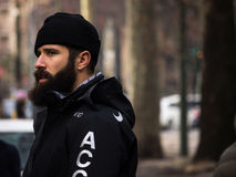 Street Style during Milan Fashion Week for Fall/Winter 2015-16. January 2015: Adam Katz Sinding spotted on the streets of Milan during Fashion Week for Fall/ Stock Image