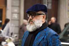 Street Style during Milan Fashion Week for Fall/Winter 2015-16 Royalty Free Stock Photo