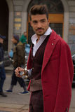 Street Style during Milan Fashion Week for Fall/Winter 2015-16 Royalty Free Stock Photography