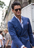 Street Style during Milan Fashion Week for Spring/Summer 2015 Royalty Free Stock Photography