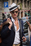 Street Style during Milan Fashion Week for Spring/Summer 2015 Royalty Free Stock Photos