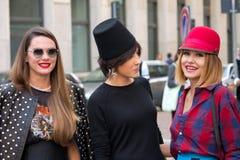 Street Style during Milan Fashion Week for Spring/Summer 2014 Stock Photos