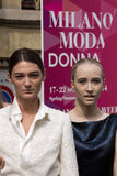 Street Style during Milan Fashion Week for Spring/Summer 2015 Royalty Free Stock Photos