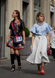 Street Style during Milan Fashion Week for Spring/Summer 2015 Stock Image