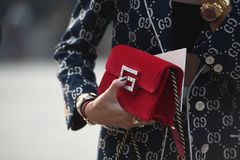 Street Style Outfits At Milan Fashion Week Stock Images