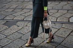 Street Style Outfits At Milan Fashion Week Stock Photos