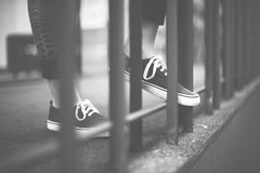 Street Style Wearing Youth Culture Shoes Concept Stock Photo
