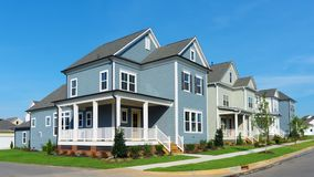 Street of suburban homes. In master planned community royalty free stock photo