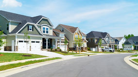 Street of suburban homes stock photography