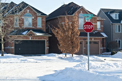 Street. A suburban street in the winter time Royalty Free Stock Photos