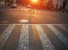Street at sunrise. Paved street at sunrise or sunset Royalty Free Stock Photo