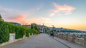 A street at sunrise in Sunny Beach on the Black Sea coast of Bulgaria. Bulgarian clouds coastline dawn day horizontal morning no people nobody outdoor outside royalty free stock photos