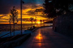 Street sunset. Sunset by the sea, Rovinj, Istria, Croatia Royalty Free Stock Photos