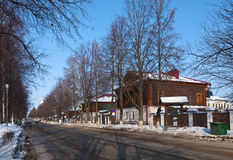 Street at Suzdal in winter stock photography
