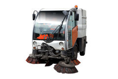 Street Sweeper. A Street Sweeper Vehicle Isolated on White Royalty Free Stock Photo
