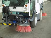 Street sweeper. Front detail view of a Street sweeper Stock Photo