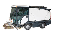 Street sweeper. Isolated small street sweeper with brushes and vacuum Royalty Free Stock Photo