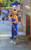 Street sweeper with a broom in China Stock Photos