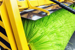 Street Sweeper Broom. Street sweeper. focus on Sweeper Broom Royalty Free Stock Photo