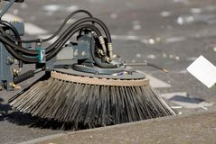 Street sweeper car. A cleaning car in a street in berlin stock photography