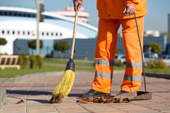 Street Sweeper cleaning city sidewalk Stock Images