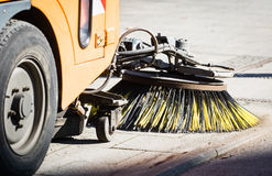 Street sweeper machine. Cleaning the streets in vienna Royalty Free Stock Image