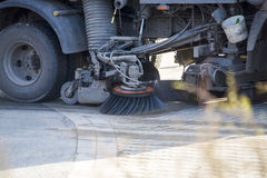 Street sweeper machine. Cleaning the street Royalty Free Stock Photo