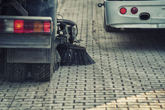 Street sweeper machine. Cleaning the street Stock Image
