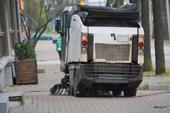 Street sweeper machine. Cleaning the city street Royalty Free Stock Photos